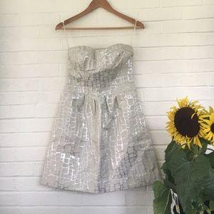 Strapless Metallic Mini Dress